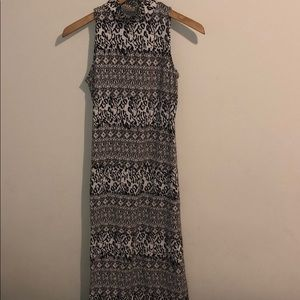 Long printed black white and grey sleeveless dress